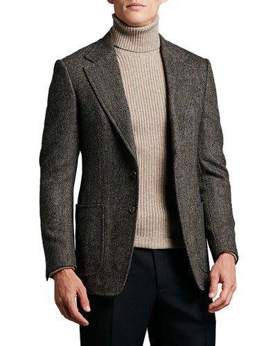 cfef9da67864 TOM FORD Herringbone Tweed Two-Button Jacket