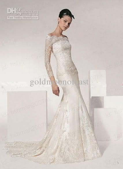 Custom Lace Long Sleeve Mermaid White Ivory Wedding Dress Gown Off Sleve