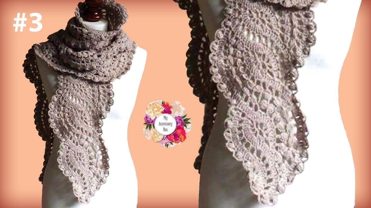 Wavy Crochet Lace Scarf Tutorial Part 3 Youtube Crochet Scarfs