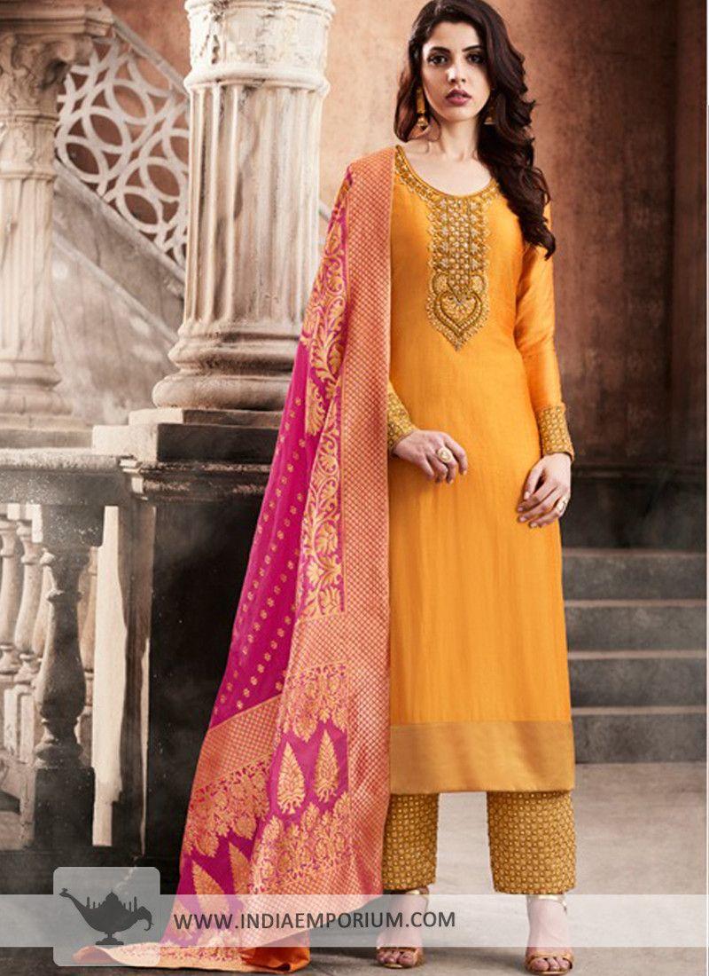 daea2eb5e1 Smashing Yellow & #Pink #Slub #Silk #Embroidered #Palazzo #Suit ...