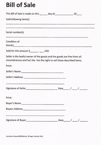 Printable Sample Champer Bill of Sale Form Laywers Template - buyers contract template