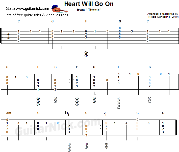 Heart Will Go On Flatpicking Guitar Tablature More Guitar Stuff