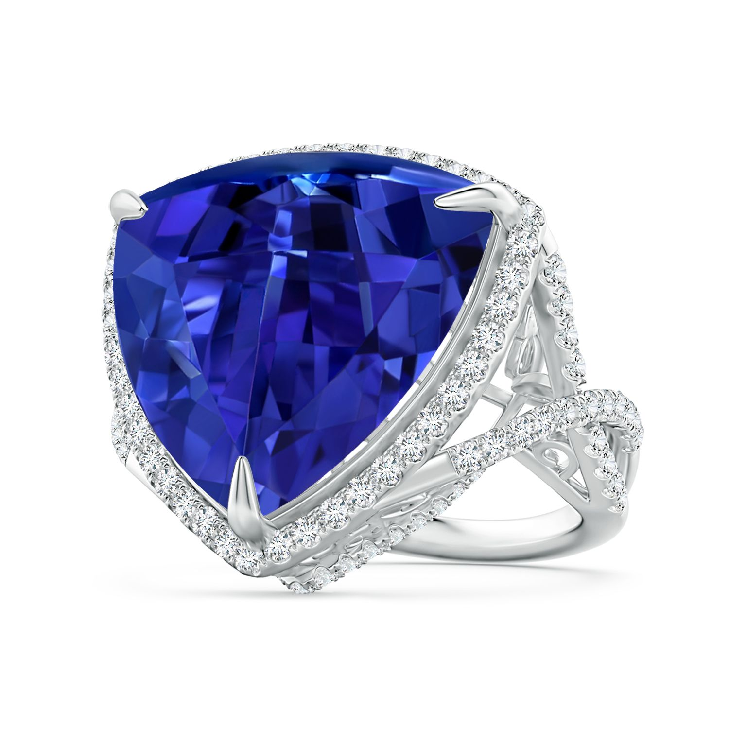 diamond ring white cut tanzanite and gold trillion