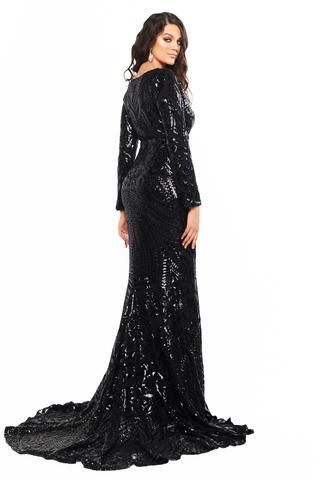 98f51ec5acb4 A&N Curve Alexa - Black Long Sleeve Sequins Gown with V-Neck & Slit ...