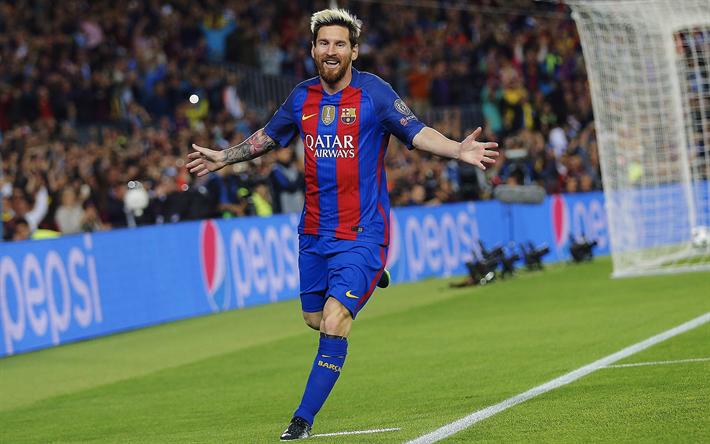 Lataa kuva 4k, Lionel Messi, tavoite, jalkapallo tähteä, FC Barcelona, jalkapallo, Leo Messi