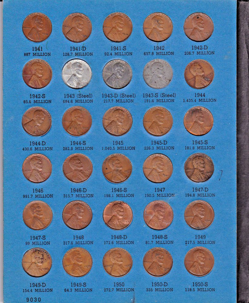 Lincoln Wheat Cent Penny Lot of 10 Coins Mixed Dates 1941