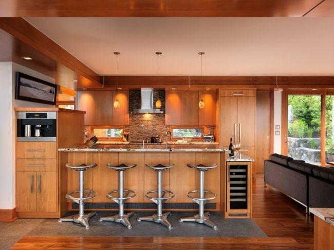 Wohnideen Küche Modern Holz Möbel Naturstein Fliesenspiegel