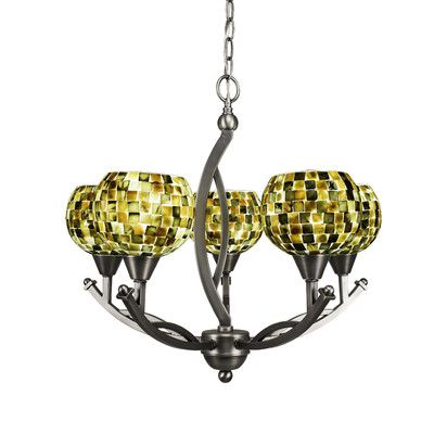 Toltec Lighting Bow 5 Light Candle Chandelier