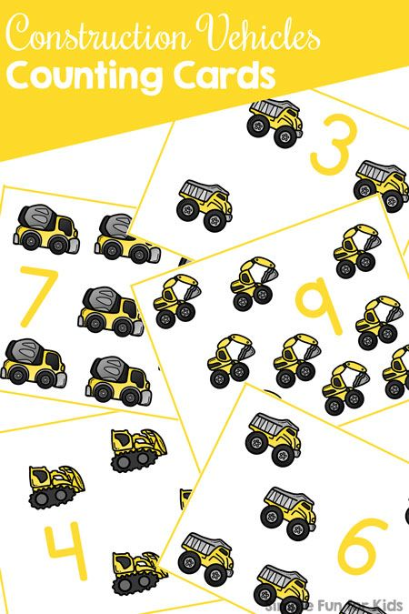 Construction Vehicles Counting Cards | Transportation & Community