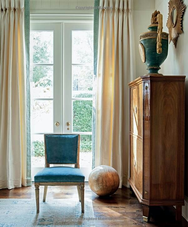 Goblet Headed Curtains With Contrast Coloured Fabric On