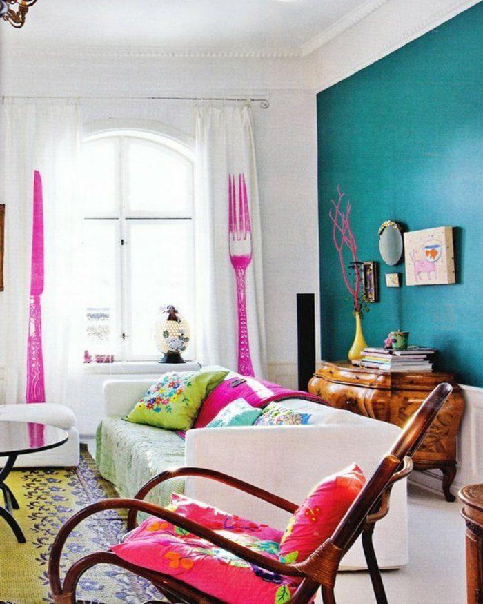 Wohnzimmer Streichen Ideen Grüne Akzentwand Farbige Akzente