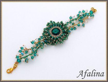 "Handmade bracelets.  Set ""Emerald"".  Afalina - Alexander Gromov.  Shop Online Fair Masters.  Swarovski pendant"