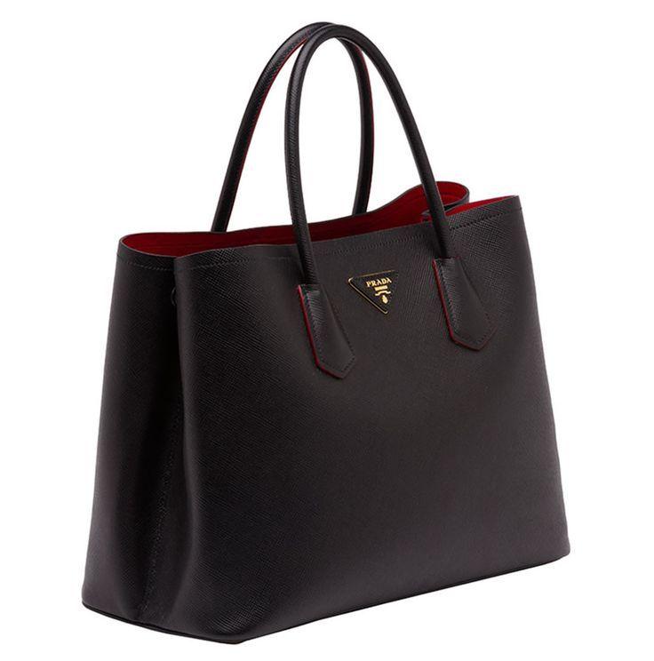 Straight on my wish list - Prada Saffiano Cuir Double Bag in black and red  - bags, satchel, ysl, beach, duffle, canvas bag *ad   Pinterest   Prada  saffiano, ...