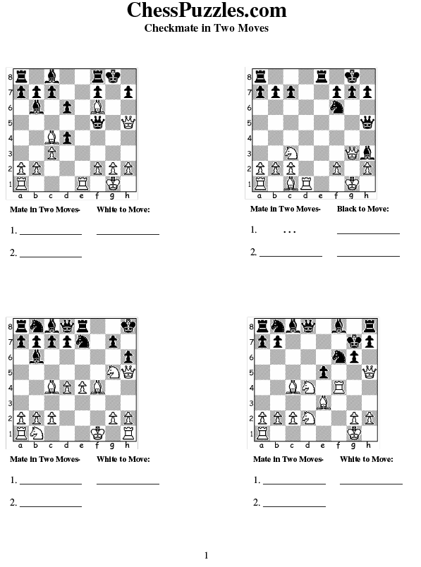 Free Checkmate Problem Worksheets! Below are a collection