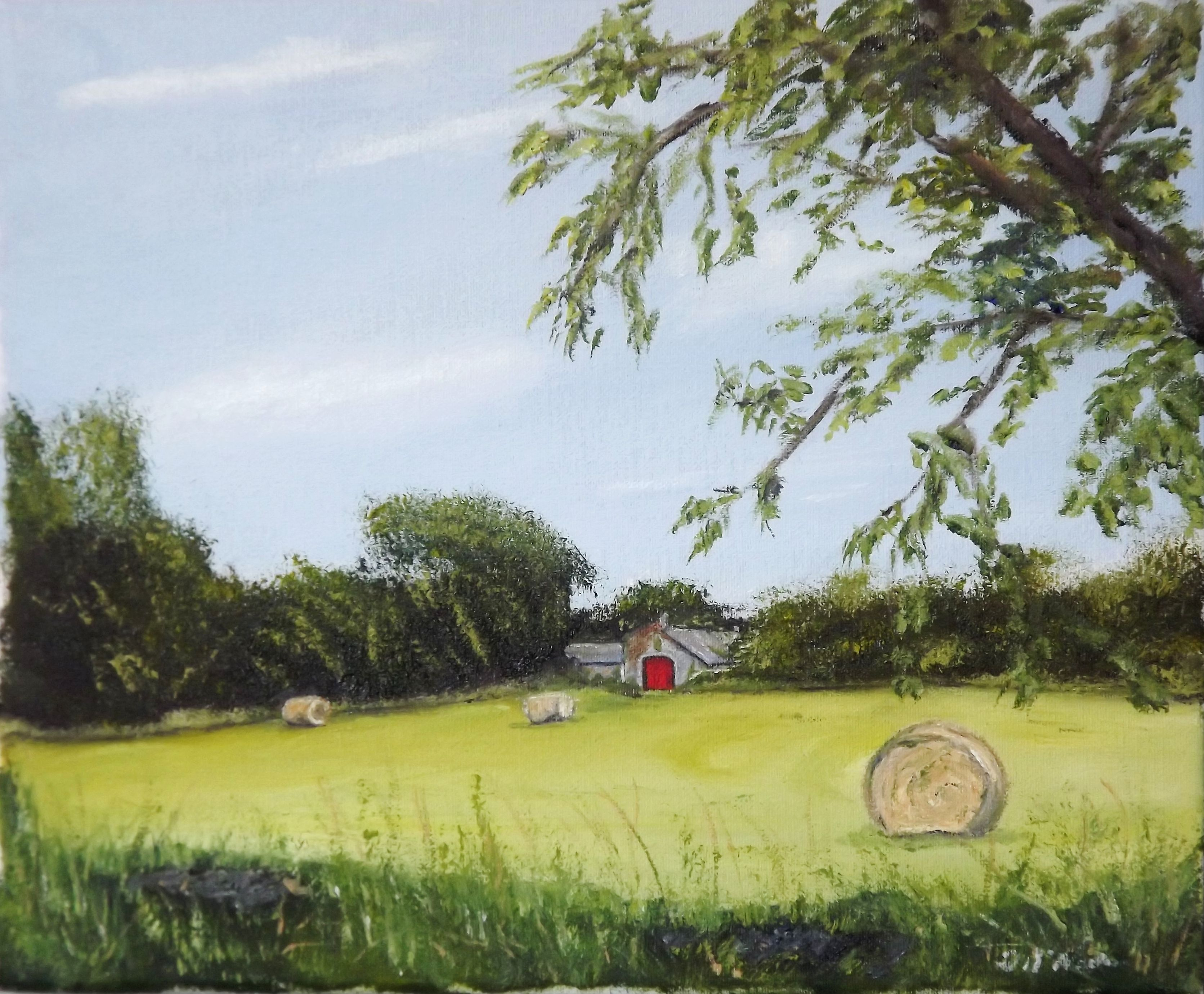 Saving the Hay while the sun shines  Oil on Canvas 10 X 12