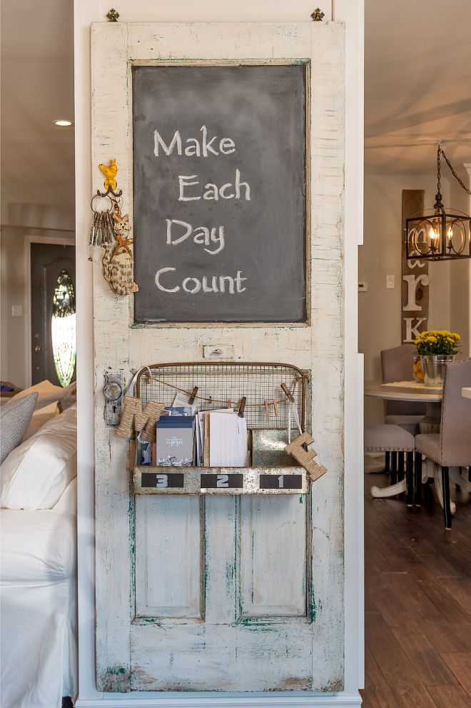 Delicieux Reclaimed Door. Found By The Homeowner, This Reclaimed Door Was Hung And  Partly Painted With Chalk Paint To Create A Message Board. How Creative Is  That?!