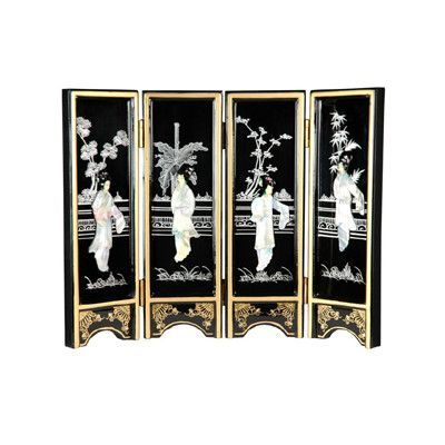 """Oriental Furniture 14"""" x 18.5"""" Lacquer 4 Panel Room Divider"""
