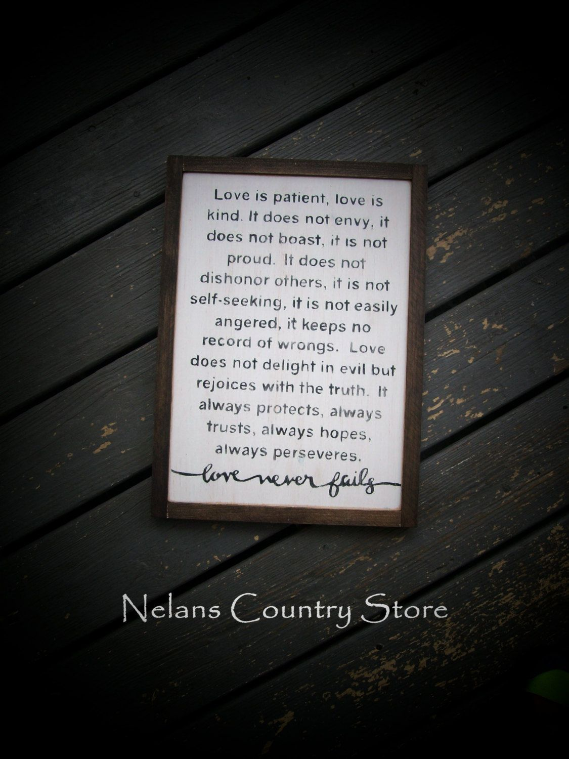 Love Is Patient 1 Corinthians 13 4 7 Hand Painted Sign Framed Wall Art Home Decor Wedding Anniversary By Ne Custom Sign Love Is Patient Hand Painted Signs