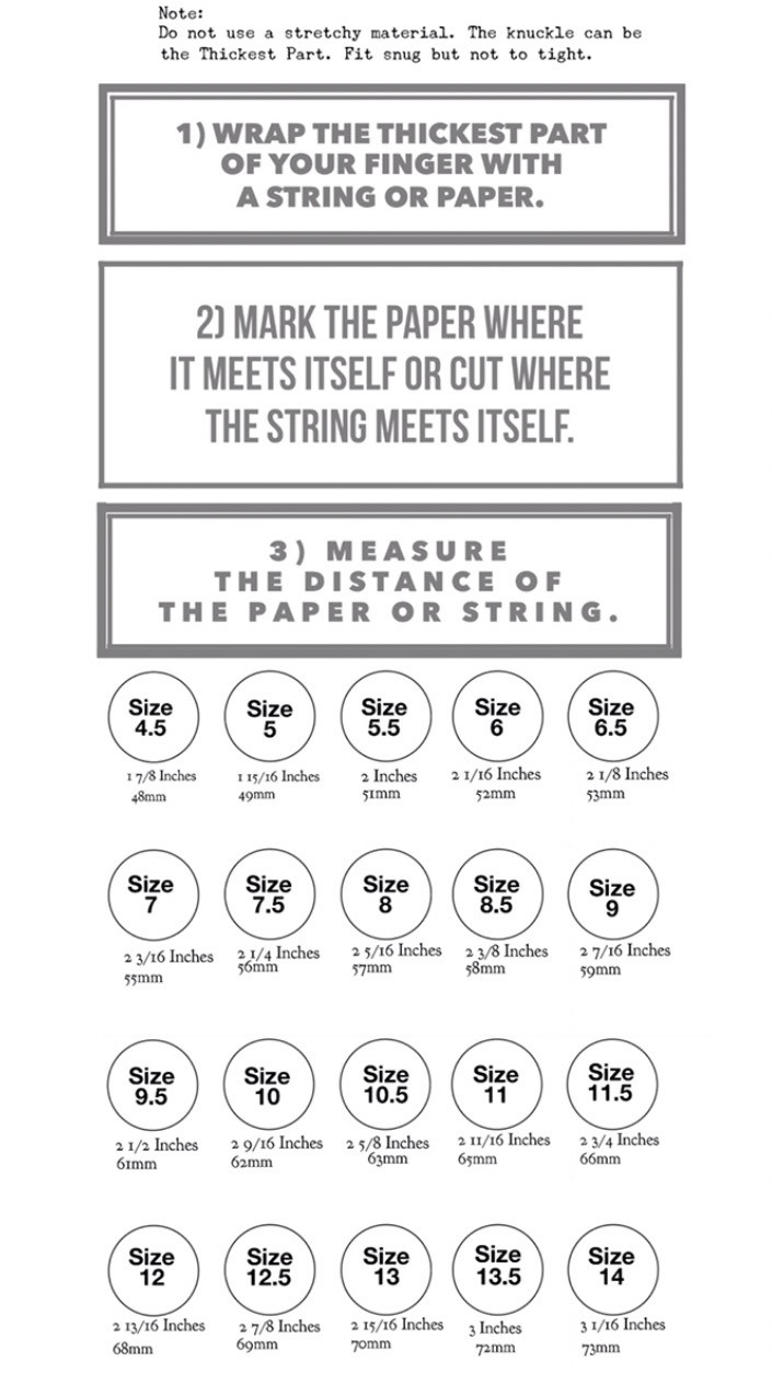 Finger Size Guide Manbands & Co Ring size guide