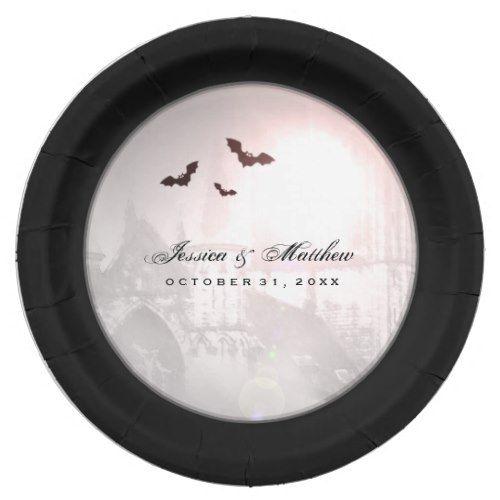 Photo of Halloween Black Bats Gothic Wedding Matching Plate