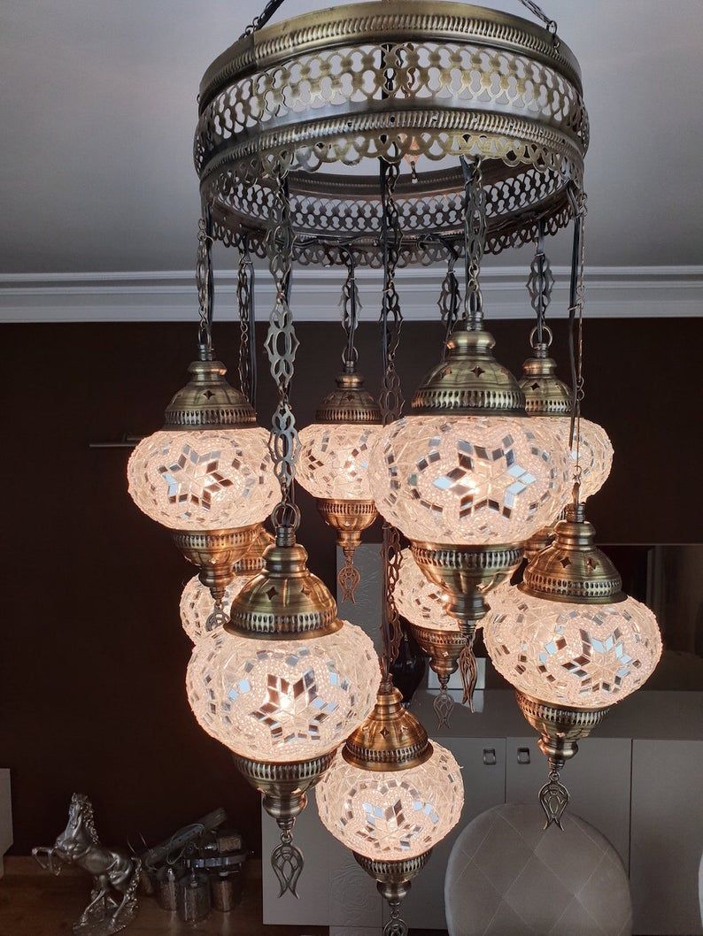 9 Globes Turkish Moroccan Mosaic Hanging Ceiling Lamp Pendant Etsy Ceiling Lights Hanging Ceiling Lamps Ceiling Light Fixtures