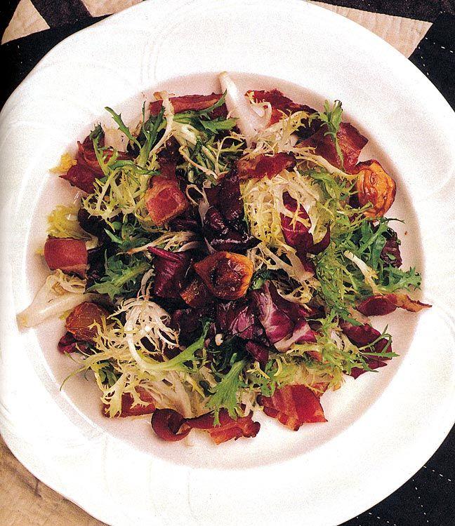 Garlic-Thyme, Bacon, Radichio Salad - recipes from Chef Nora Pouillon