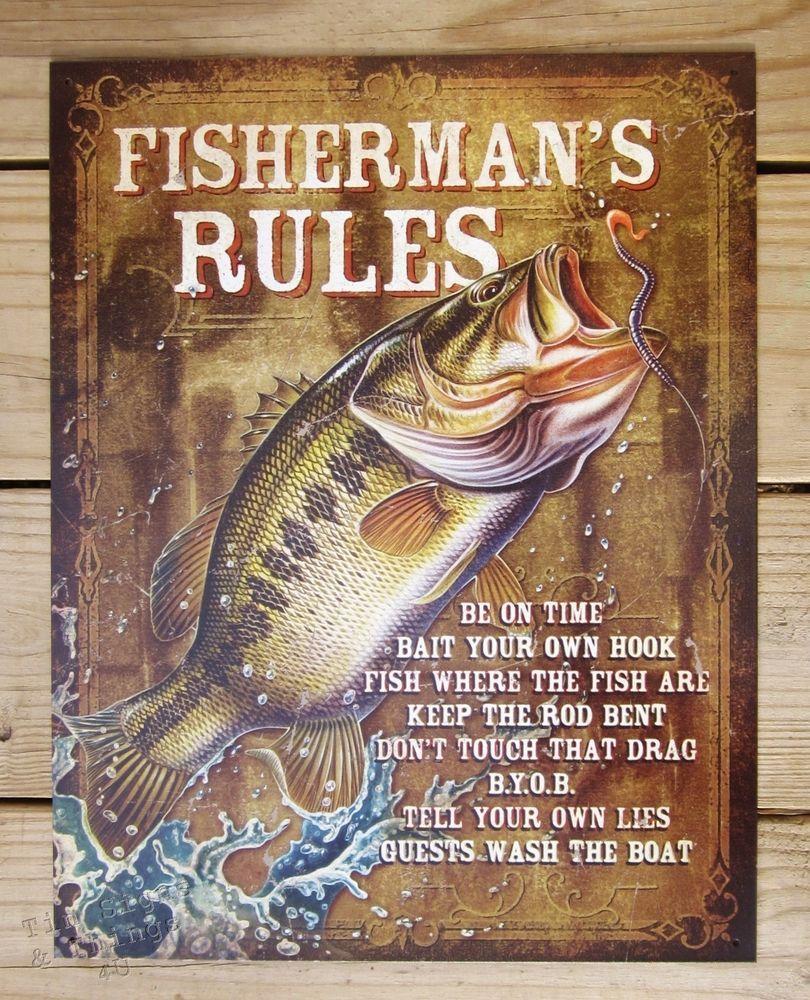 Metal Wall Signs fisherman's rules tin sign funny fishing metal wall decor cabin