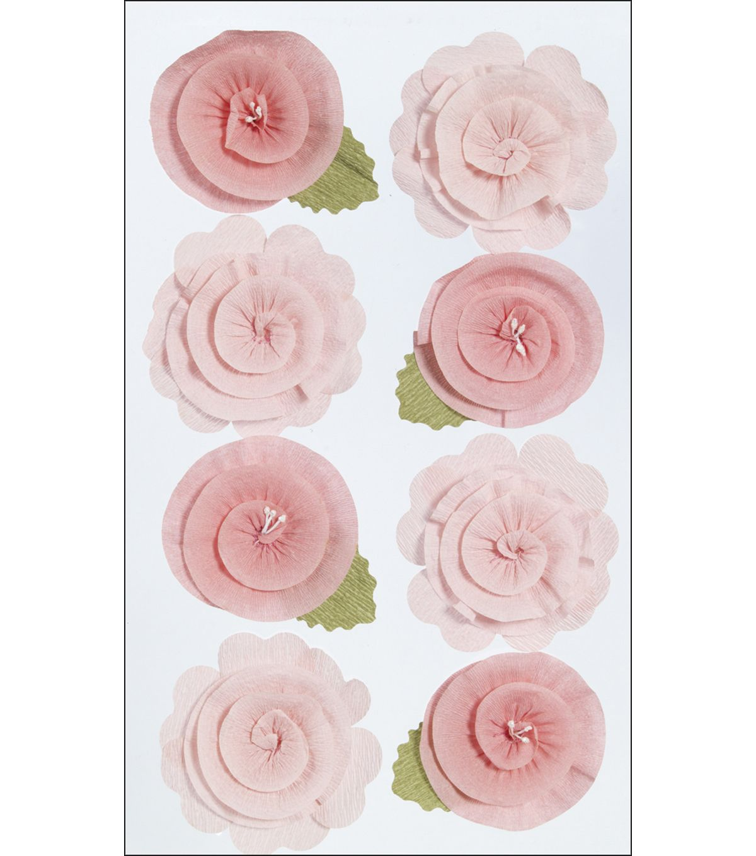 Martha Stewart Crafts Dimensional Stickers Pink Crepe Flowers Hi