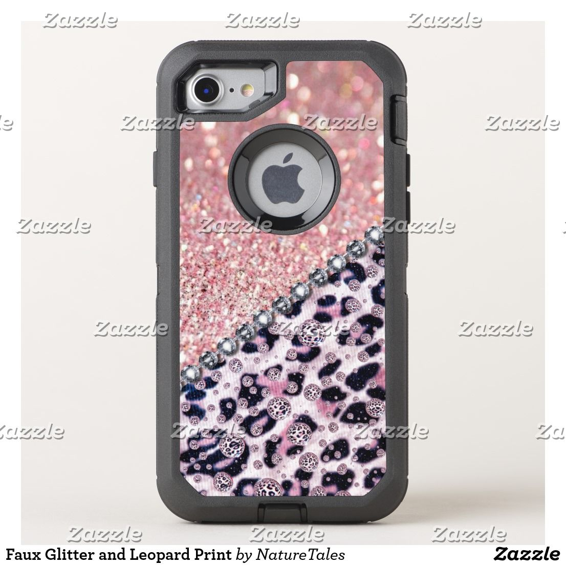 Faux glitter and leopard print otterbox iphone case