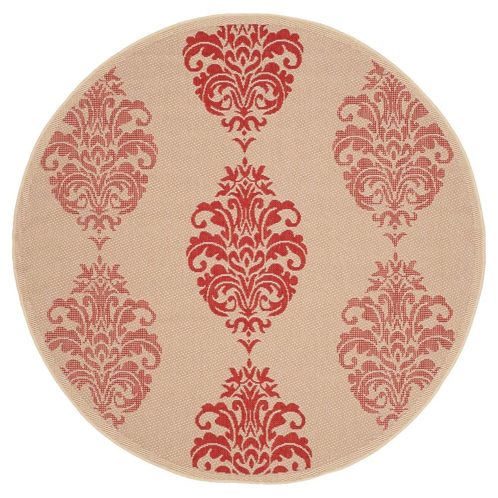 Orly Round 5u00273 Outdoor Patio Rug   Natural / Red   Safavieh, Natural