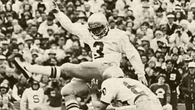 """REFLECTIONS ON THE GAME (Reprint ND / Michigan 1980) -- """"Well, it happened again. This time the woe fell upon Bo and his Wolverines, and the doom was dealt by the terrible toe of our Harry Oliver. But the situation was nothing new. But why, one may ask, do the Irish win so many close encounters of the turf kind? Indeed, why Notre Dame? Why Our Lady? Why, OUR LADY! Of course! The answer's in the question."""" --Tom O'Toole"""