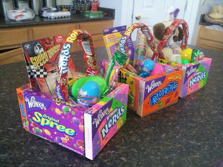 Easter basket idea glue four candy boxes together and a piece of edible easter baskets glue four large boxes of candy together hot glue a piece of cardboard for the bottom of the basket fill with a little plastic negle Images