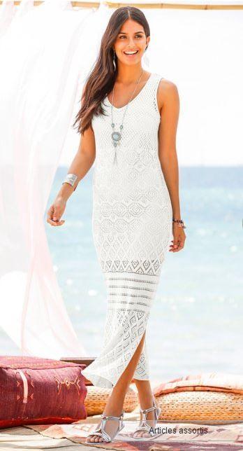 2f3ee54c56 Maxi robe longue maille dentelle blanche Bonprix mode femme printemps été  2017