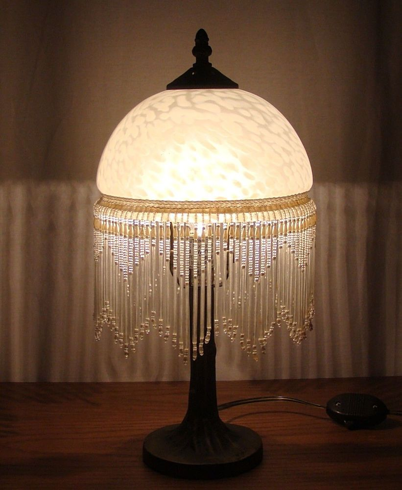 Vintage Frosted Etched Glass Fringe Dome Beaded Shade Table Lamp Victorian Style Glass Light Shades Lamp Victorian Lamps