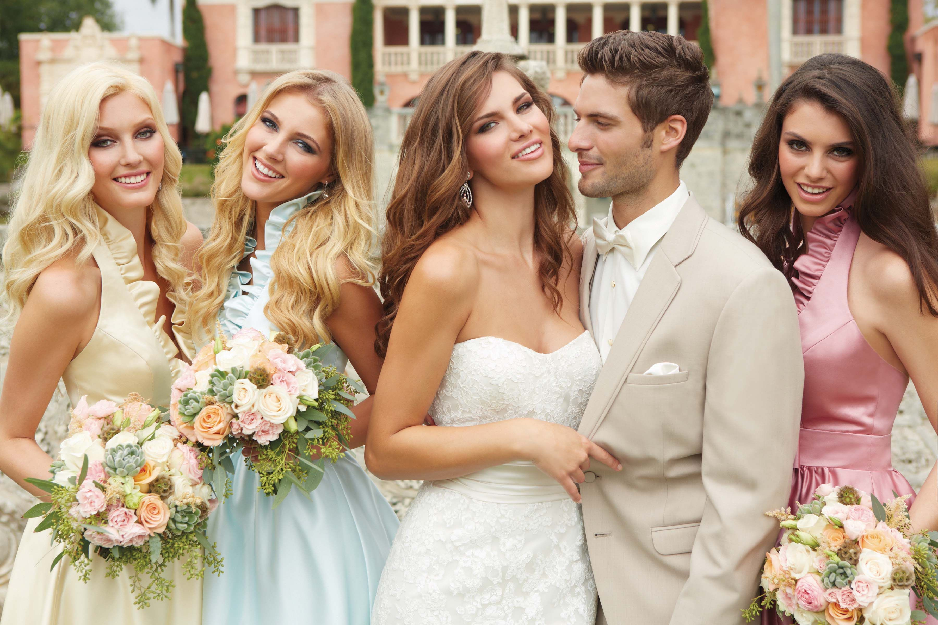 Tan tux different colored bridesmaid dresses mens sarno tan tux different colored bridesmaid dresses ombrellifo Images
