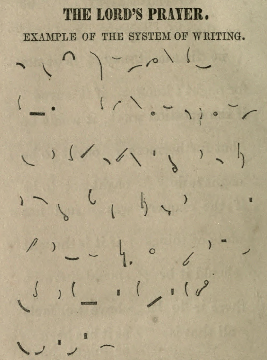 The Lords Prayer.Short-hand; phonography for the million. A new system, of kyriological phonogr... - #1858 #19th #century #code #lord's #nemfrog #prayer #shorthand #squiggles #writing