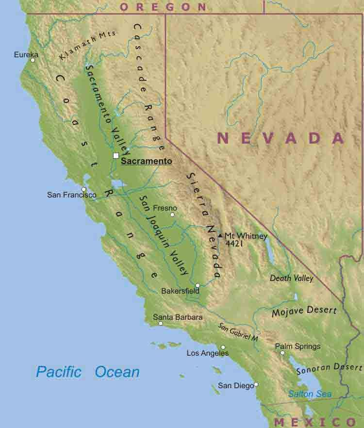 Pin by EZ Travel on Travel | California map, Nevada map, Map California Mountain Map on