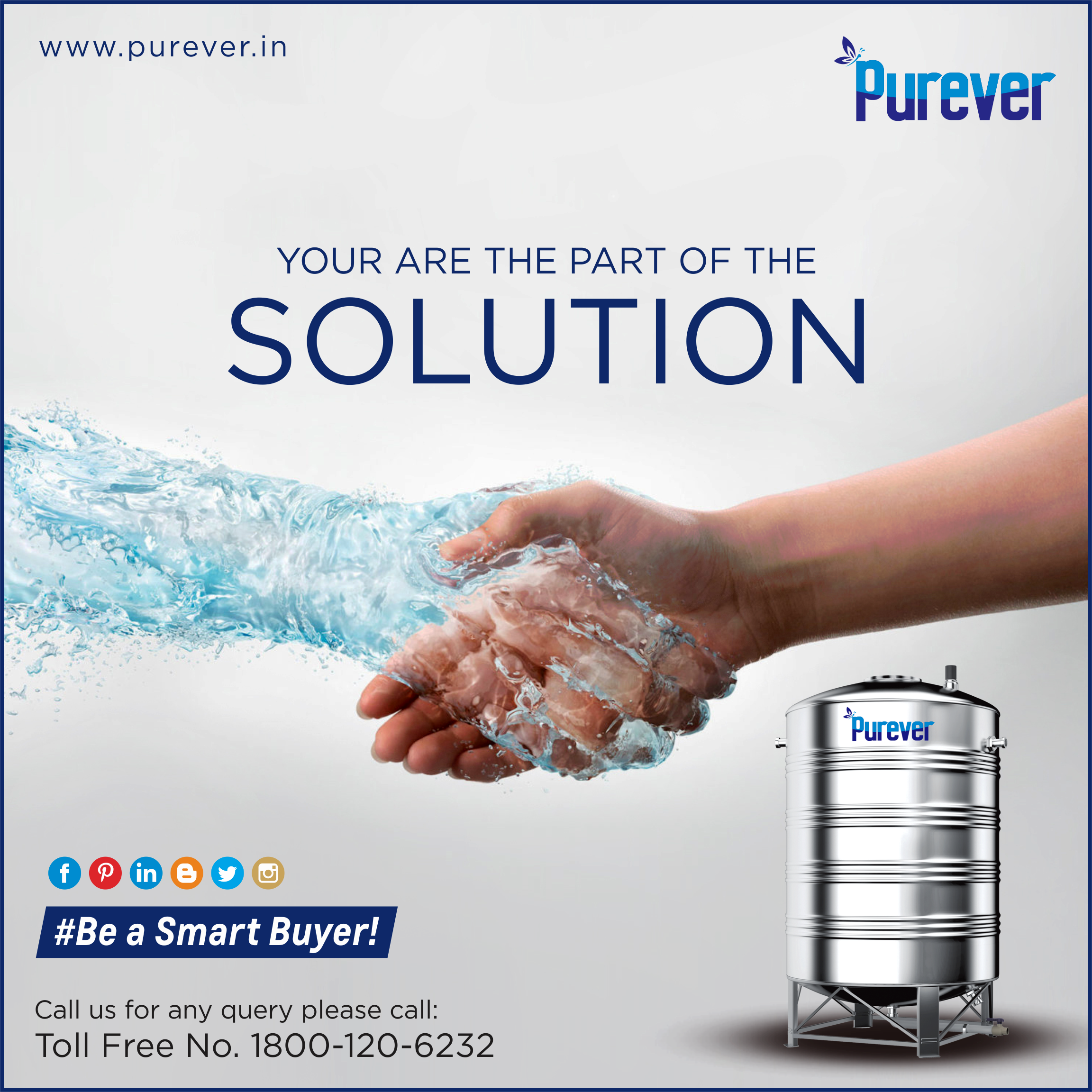 Hand Of Giving Purity In Every Single Drop Of Water Solution Of Being Healthy Staying Healthy 1800 120 6232 Steel Water Tanks Water Tank Water Solutions