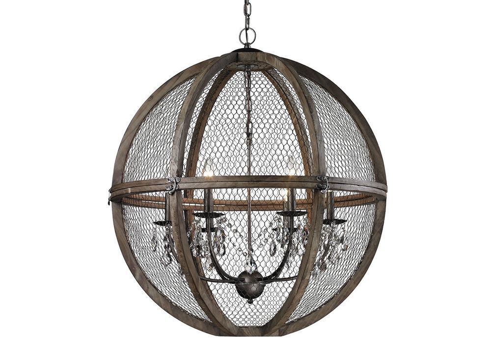 Wire Sphere Crystal Chandelier French Farmhouse Transitional New