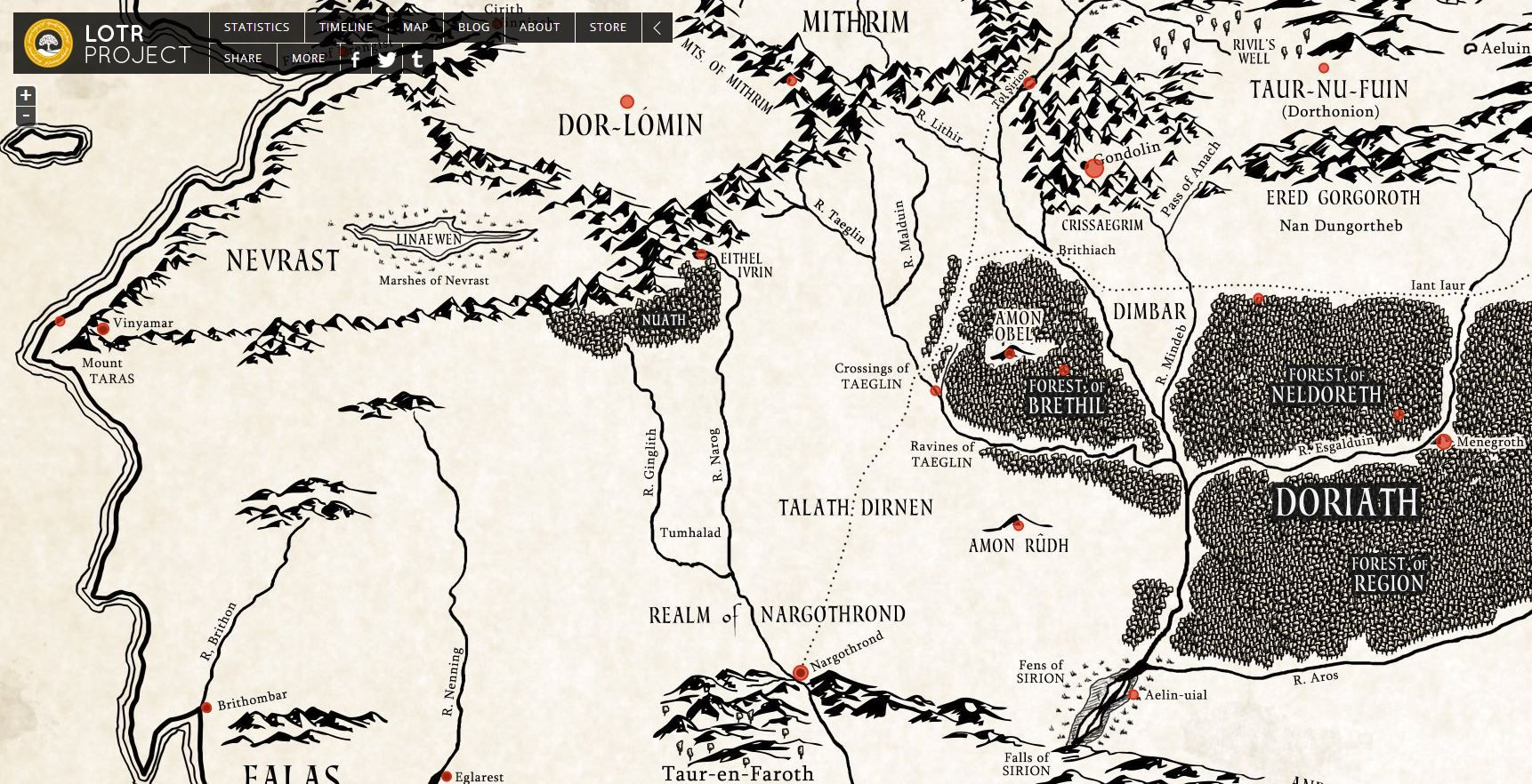 Explore This Great Interactive Map Of Lost Beleriand Lotr Project