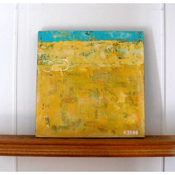 Yellow original abstract acrylic painting, Beach cottage decor ...