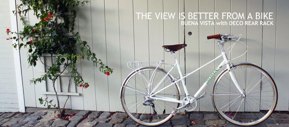 Buena Vista Frame Pearl White W Portofino Green Panel Pretty Bicycle Pearl White Fuji Bikes