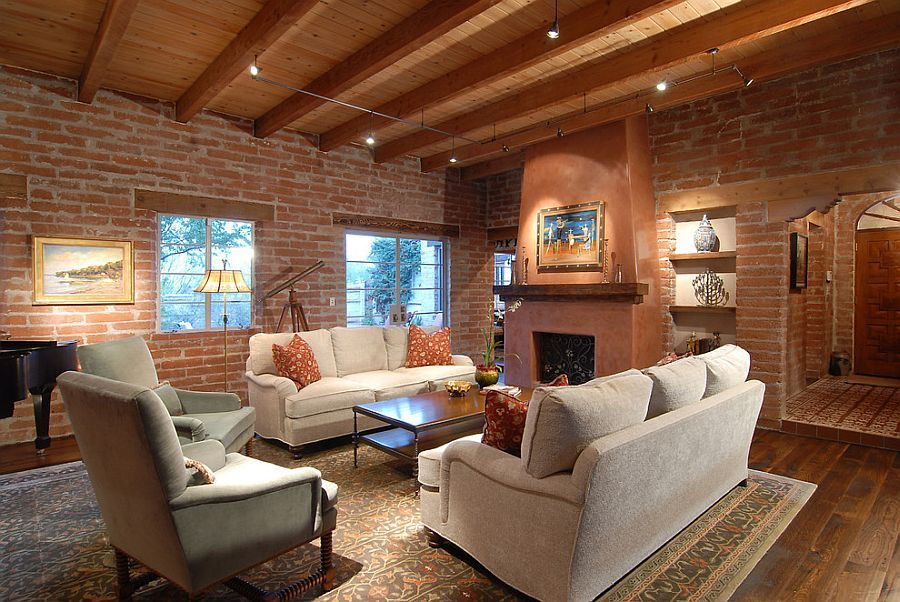 Original Brick Walls Of 1960 Structure Steal The Show In This Southwestern  Living Room [Design