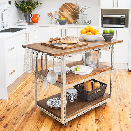 This DIY mobile kitchen island is an easy project that uses steel ...