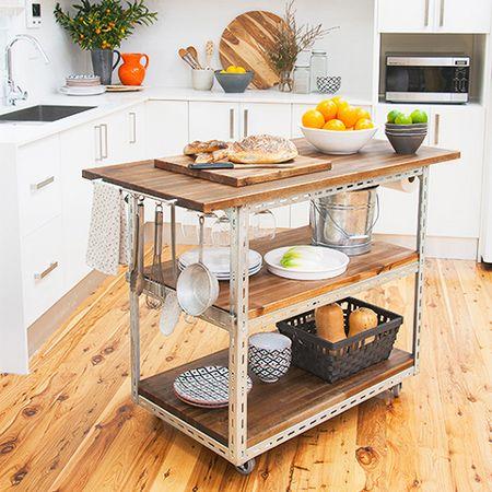 Diy Mobile Kitchen Island Or Workstation Steel Shelving