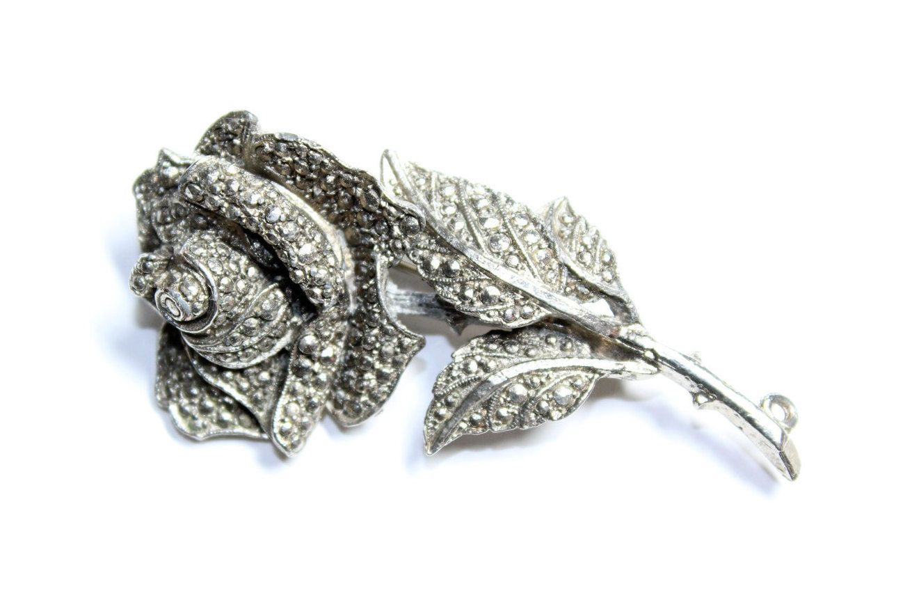 Silver Coloured Faux Marcasite Rose Flower Brooch/Pendant (c1950s) - Wedding by GillardAndMay on Etsy