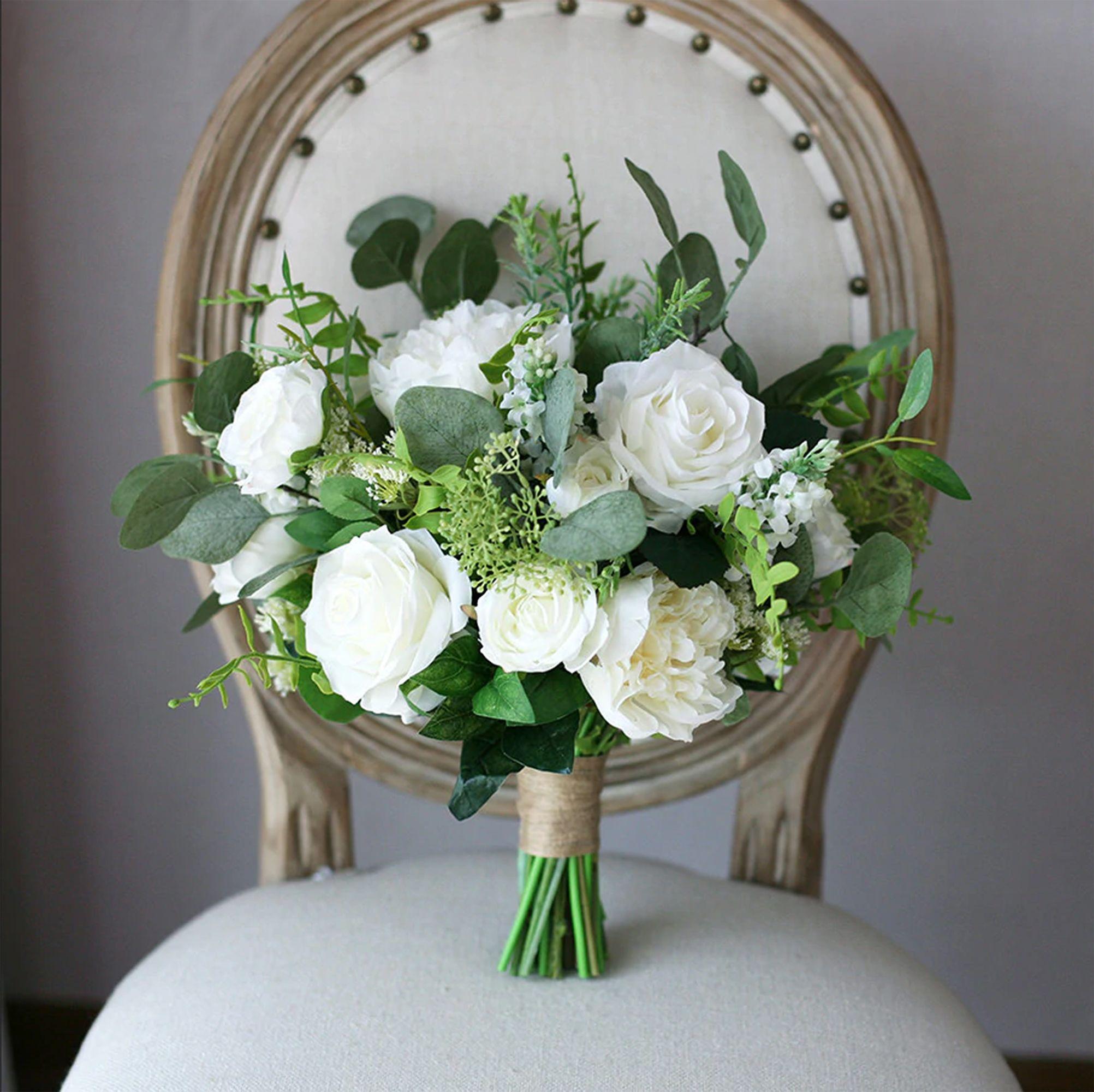 White Rose & Peony Bridal Bouquet, Greenery Wedding