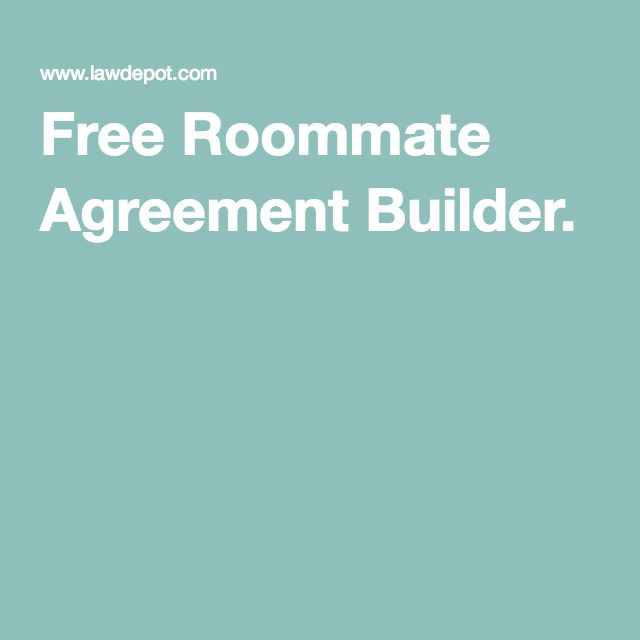 Free Roommate Agreement Builder   Pinteres