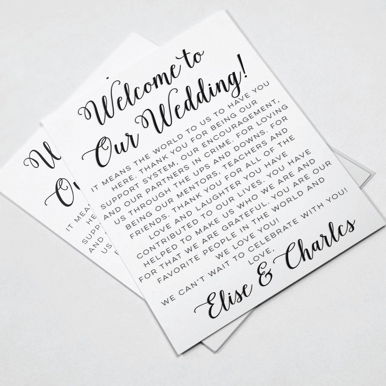 Wedding Welcome Letters, Wedding Itineraries, Wedding Welcome Bag ...