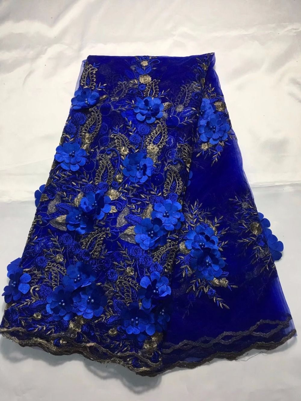 African Lace Fabric 5 Yards Guipure Lace Cotton French Embroidered Mesh Lace Fabric,Royal Blue